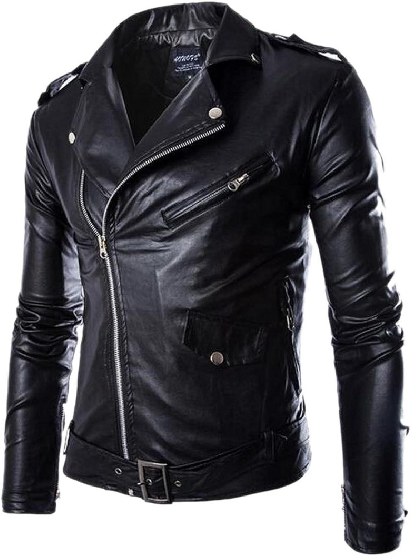 RG-CA Mens Long Sleeves PU Faux Leather Side Zip Casual Moto Biker Coat