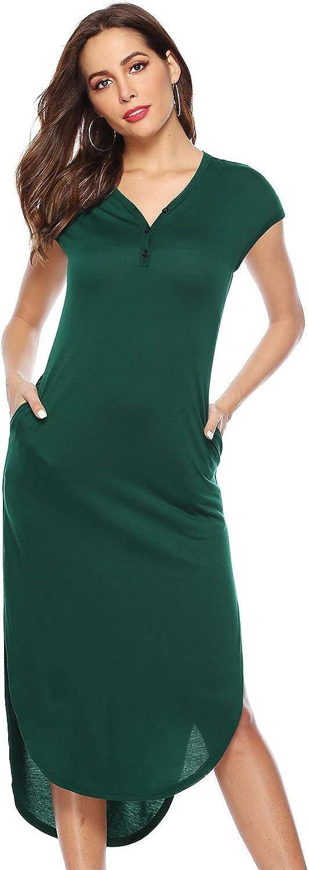 Women's Button V Neck Elastic Dress High Low Hem Split Maxi Dress with Pocket