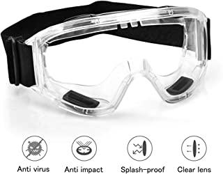 Protective Safety Goggles with universal fit | Clear, Fog-Free, Anti-Spittle, Anti Scratch Coated Lenses | for Perfect Eye...