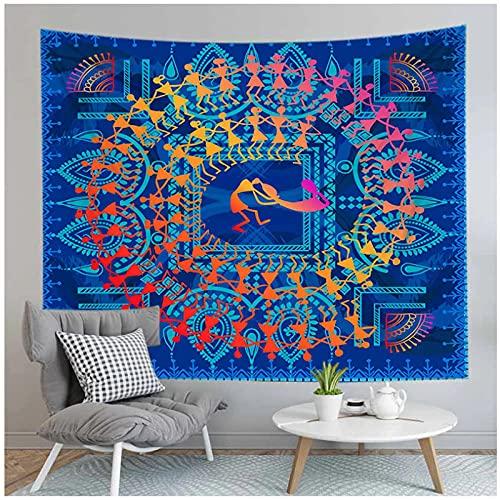 Tapiz by BD-Boombdl Mandala de encaje azul decorativo de pared arte de fondo tela para colgar en la pared decoración de dormitorio estera de Yoga 59.05'x78.74'Inch(150x200 Cm)