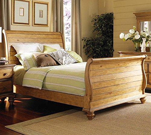 "Hot Sale Hamptons Queen Sleigh Bed Set (Weathered Pine) (58""H x 65.25""W x 95.3""D)"