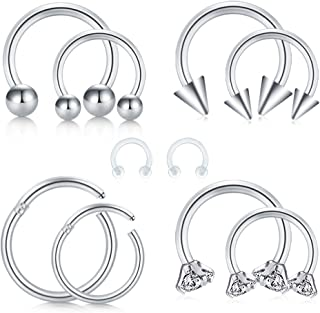 QWALIT 20G Nose Rings L-Shape Nose Studs Screw Surgical Steel Nostril Piercing CZ Flat Top Nose Bone Pin Piercing Jewelry Earlobe Piercing Studs Marble Stone 12pcs 9//32 7mm