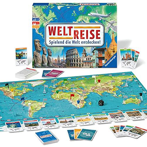 Ravensburger 26888 26332 - Weltreise- Familienklassiker ab 8 Jahren - Gesellschaftspiel, Reise einmal um die Welt, Reiseplanung für bis zu 6 Spieler - über 170 Städte
