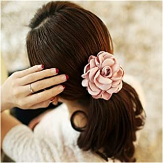 Lovef Jewelry Women Girl 6pcs(mixed Color) Cloth Rose Flower Design Ponytail Holders Hair Tie Assorted Rope Rubber Bands Accessories