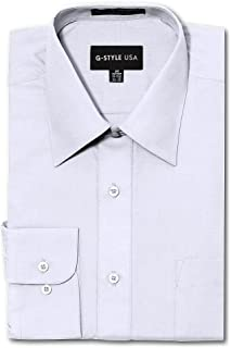 G-Style USA Men's Regular Fit Long Sleeve Solid Color Dress Shirts