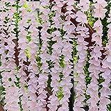 RECUTMS 10 Pcs Wisteria Garland, Artificial Flowers for Decoration, Artificial Wisteria Vine Hanging Garland Silk Wisteria Flowers String Wedding Arch Garden Indoor Wall Decor (Fruit Powder)
