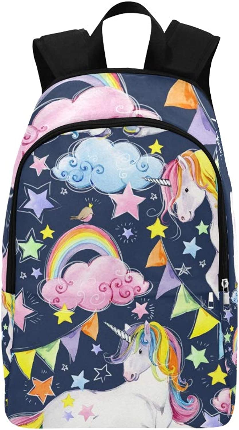 Cute Unicorn Magic Horse Casual Daypack Travel Bag College School Backpack for Mens and Women