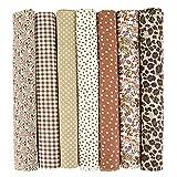 INFEI 7 paños cuadrados de tela de algodón para manualidades, 50 x 50 cm, para manualidades, para manualidades, manualidades, para manualidades, manualidades (café)