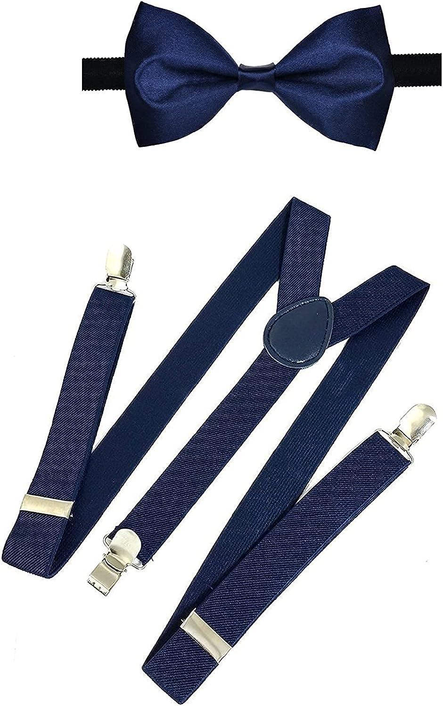 Kalagiri Navy Blue Bow Suspender PocketSquare Combo for Men/Boys