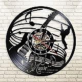 La música es la Voz del Alma Reloj de Pared con Disco de Vinilo Guitarra eléctrica Guitarrista Musical Reloj de Pared Moderno