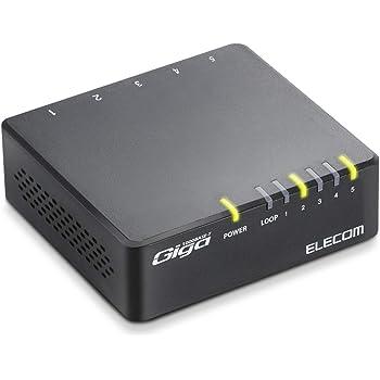 エレコム スイッチングハブ キガビット 5ポート AC電源 ブラック 簡易パッケージ版 EHC-G05PAA-B-K