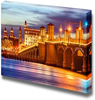 Canvas Prints Wall Art - St. Augustine, Florida, USA City Skyline and Bridge of Lions at Night | Modern Wall Decor/Home Decor Stretched Gallery Canvas Wraps Giclee Print & Ready to Hang - 12