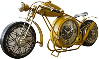 YOUKI etal Motorcycle Table Clock, Retro Vintage Non-Ticking Desk Clock Battery Operated Silent,Easy to Read,17 x 1.8X 7.5 Inches,Yellow …