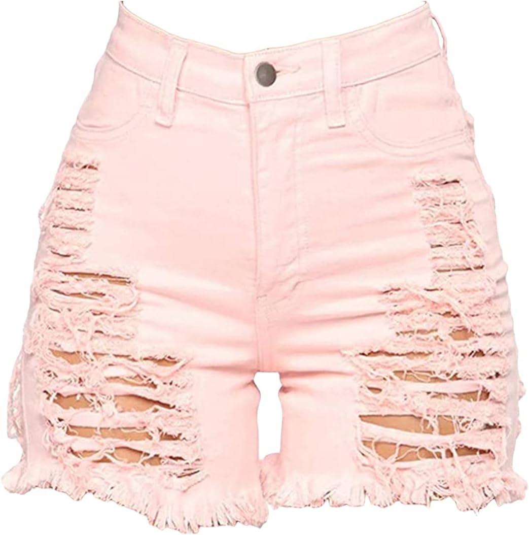 Women's High Waist Ripped Hole Denim Short Fray Hem Straight Jeans Shorts Sexy Holey Hollow Up Tassels Jean Short-pant (Pink,3X-Large)