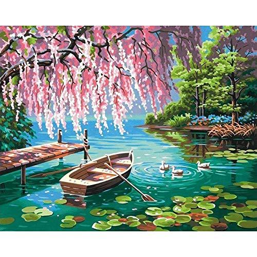 ZXDA Pintura por números Barco Pintura Digital Paisaje Barco en Cavans sin Marco imágenes de Bricolaje por números A4 40x50cm