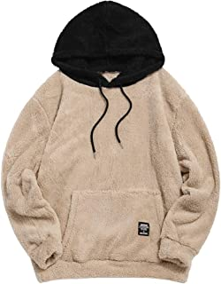 Color Blocking Fuzzy Hoodie Unisex Men Sherpa Pullover Loose Fluffy Sweatshirt