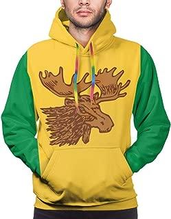 Moose Jaw Flags Men's Casual Printed Long Sleeve Hoodie Big Pockets Sweatshirt