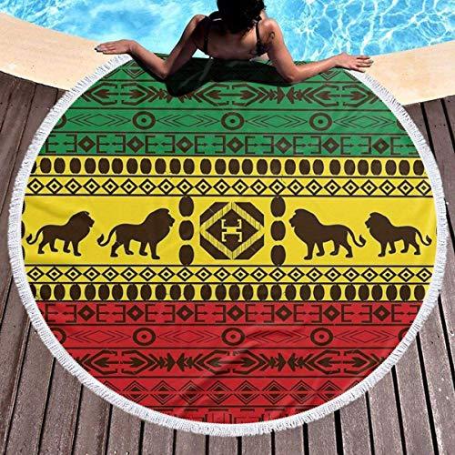 Toalla de Playa Redonda Patrón Tradicional Africano Leones Rasta Jamaica Extra Grande Viaje Grande al Aire Libre Nadar Thin Yoga Mat 59 Pulgadas