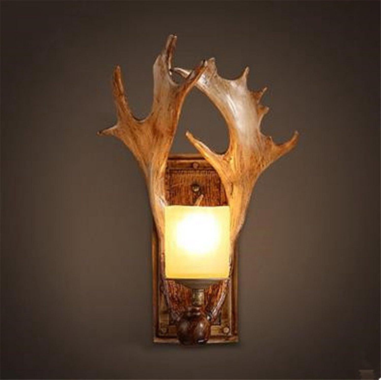 Wandleucht Retro - Wall Lamp Wohnzimmer Café Villa Bar - Harz Geweih Lampe