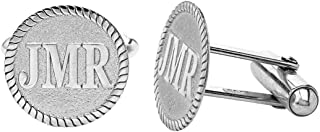 Personalized 925 Sterling Silver Engraved Initial Cufflinks Custom 3 Letters