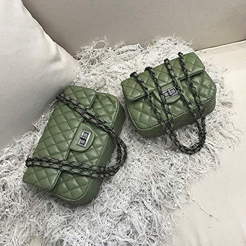 Mdsfe Damen TascheNeue Retro Mode Raute Kette Diagonale Kreuz Paket einfache kleine quadratische Tasche Persönlichkeit Umhängetasche - Grün, 20x8x15cm