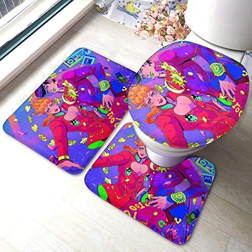 Bobo-Shop 3-delige badmat, set van antislip pads, zacht, badmat + contourbekleding + wc-deksel