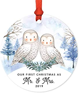 Andaz Press Wedding Couple Round Metal Christmas Keepsake Ornament, Our First Christmas as Mr. & Mrs. 2019, Watercolor Winter Snow Owls, 1-Pack, Includes Ribbon and Gift Bag