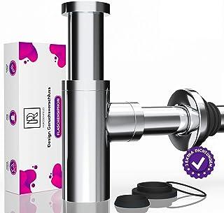 Design Siphon Waschbecken KRAFTEX – Extra starke 304er Edelstahl Wände mit 750g - Universal Geruchsverschluss inkl 2 SETS Dichtungen - mit Reinigungsöffnung  Einbauanleitung an Ablaufgarnitur