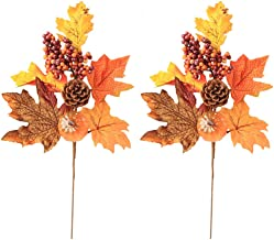 Tutuziyyy 2Pcs Artificial Autumn Pumpkin Maple Leaf Berry Pine Cone Bouquet Fake Fall Leavs Branches Decoration for Halloween Party Thanksgiving Day Fall Weddings Parties Decor