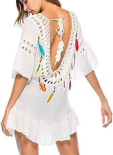 A.M.Feker - Vestido de Playa de Crochet con Espalda Abierta