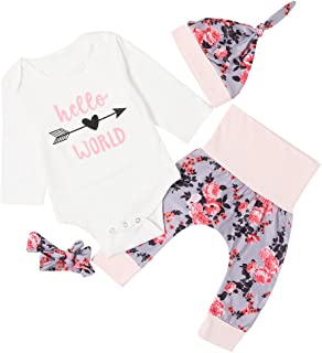 chicolife 3Pcs Baby Girls Floral Outfit Set Letter Printed Princess Long Sleeve Romper Suit with Flower Headband