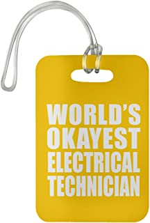 World's Okayest Electrical Technician - Luggage Tag Bag-gage Suitcase Tag Durable - Friend Colleague Retirement Graduation Athletic Gold Birthday Anniversary Christmas Thanksgiving