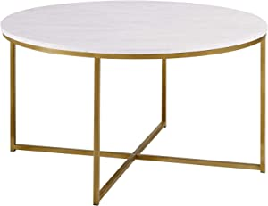 WE Furniture 91cm Round Mid Century Modern Coffee Table with X-Base for Living Room /Office decoration, Metal, Glass/Gold/Faux Marble