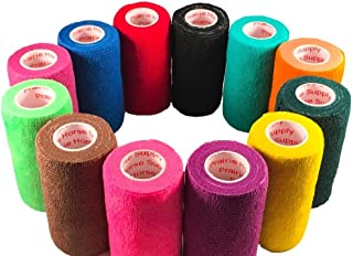 3 Inch Self Adhesive Medical Bandage Wrap Tape (Assorted Colors) (12 Pack) Strong Elastic Self Adherent Cohesive First Aid Sport Flex Rolls for Wrist Ankle Knee Sprains and Swelling