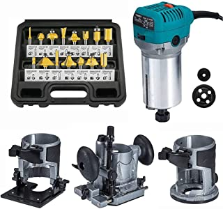 """Router Trimmer 1/4"""" with Trimmer Base, Tilt Base and Plunge Base - Compact Router Kit with 15pcs Router Bits, Multifunctio..."""