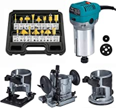 """Sponsored Ad – Router Trimmer 1/4"""" with Trimmer Base, Tilt Base and Plunge Base - Compact Router Kit with 15pcs Router Bit..."""