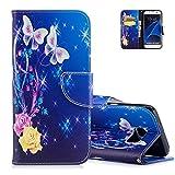Aeeque Pochette Coque pour Samsung S7 Edge Bleu, Élégant Papillon et Fleur Rose Jaune Flip Lirves Étui en Cuir Doux Fonction...