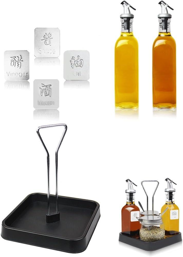 Saleros y pimenteros Dosificadores Sazonador Botella de condimento Tarro vinagre de Salsa de Soja con Bandeja Size : Capacity-300ml