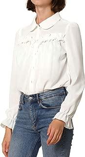 Allegra K Women's Button Down Long Sleeve Elastic Ruffled Cuffs Peter Pan Collar Shirt Blouse
