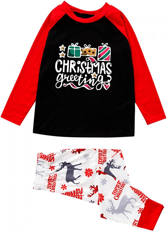 Xmas Matching Family Pajamas Sets Christmas PJ's with Merry Christmas Printed Tee and Elk Printed Pants Loungewear