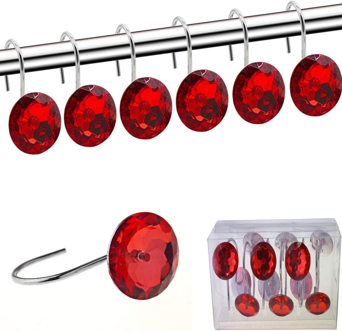 YUYIKES Shower Curtain Hooks Sales Diamond Max 86% OFF Ac Shape Rings Round