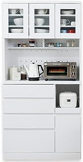 LOWYA キッチン収納 食器棚 レンジ台 3枚扉 A+Bタイプ ハイタイプ ホワイト