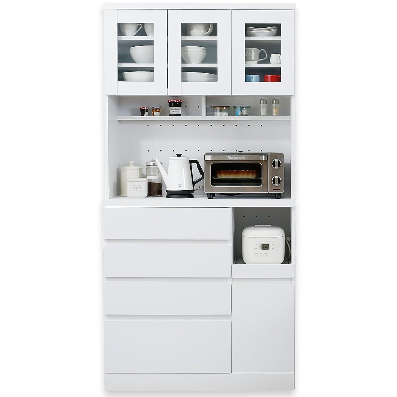 吸収著者警察LOWYA キッチン収納 食器棚 レンジ台 3枚扉 A+Bタイプ ハイタイプ ホワイト