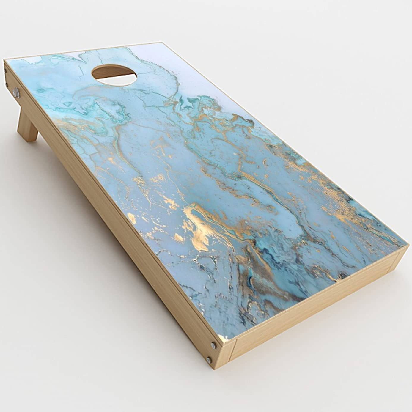 Skin Decal Vinyl Wrap for Cornhole Game Board Bag Toss (2xpcs.) Skins Stickers Cover / Teal Blue Gold White Marble Granite