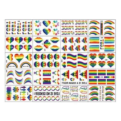 MUCHEN SHOP Gay Pride Rainbow Stickers,20 Fogli LGBT Riga in Acciaio Adesivi Tatuaggi Temporanei Impermeabile Rainbow Flag Bandiera per Donne Uomini Celebrazioni attività per Feste