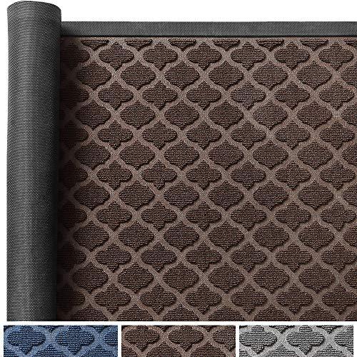 Color&Geometry Schmutzfangmatte 60 x 90 cm, Waschbarer Schmutzfänger Fußmatte, rutschfest Teppiche Türvorleger für Flur, Innen, Außen, Eingang, Garten, Innenhof (Braun)