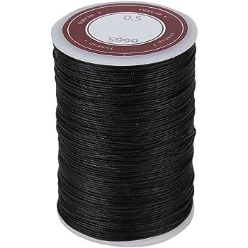 BQLZR negro 0.5mm hilo de poli¨¦ster encerado collar cuerdas Craft ...