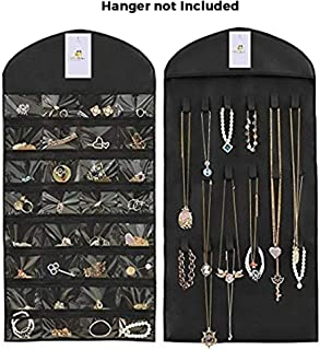 HomeStrap Hanging Non Woven Double Sided Jewellery Organizer (Without Hanger) - Black