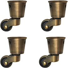 4 Pieces Swivel Casters, Round Cup Copper Casters Antique Casters No Noise Wearable Can Rotate 360° For Sofa/Chair/Coffee ...
