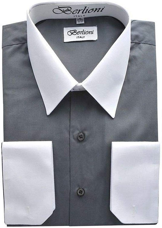 Berlioni Men's Two-Tone French Convertible Cuff Button Up Dress Shirt